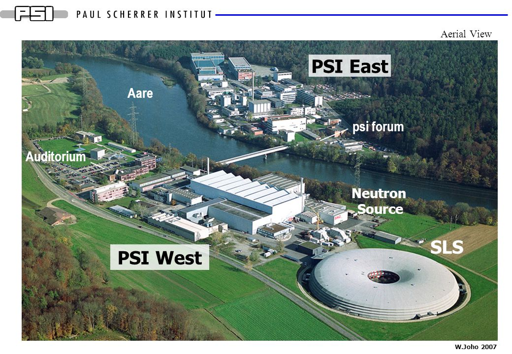 PSI East SLS PSI West Aare psi forum Auditorium Neutron Source