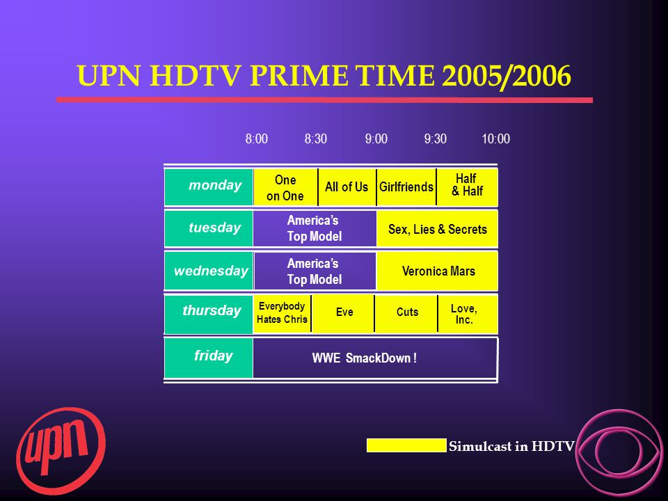 UPN HDTV PRIME TIME 2005/2006 8:00 8:30 9:00 9:30 10:00 monday tuesday