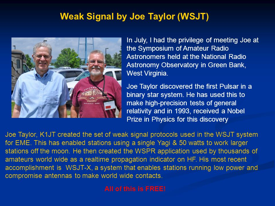 Weak Signal by Joe Taylor (WSJT)