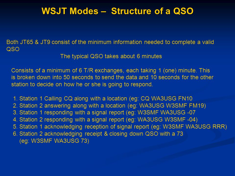 WSJT Modes – Structure of a QSO