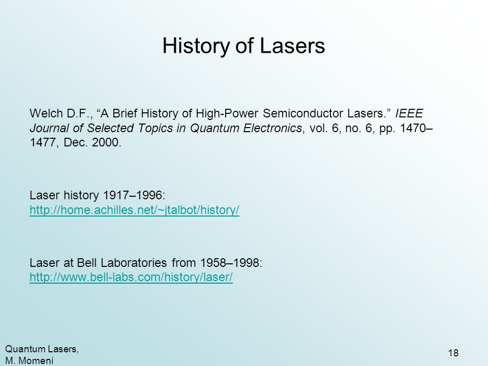 History of Lasers