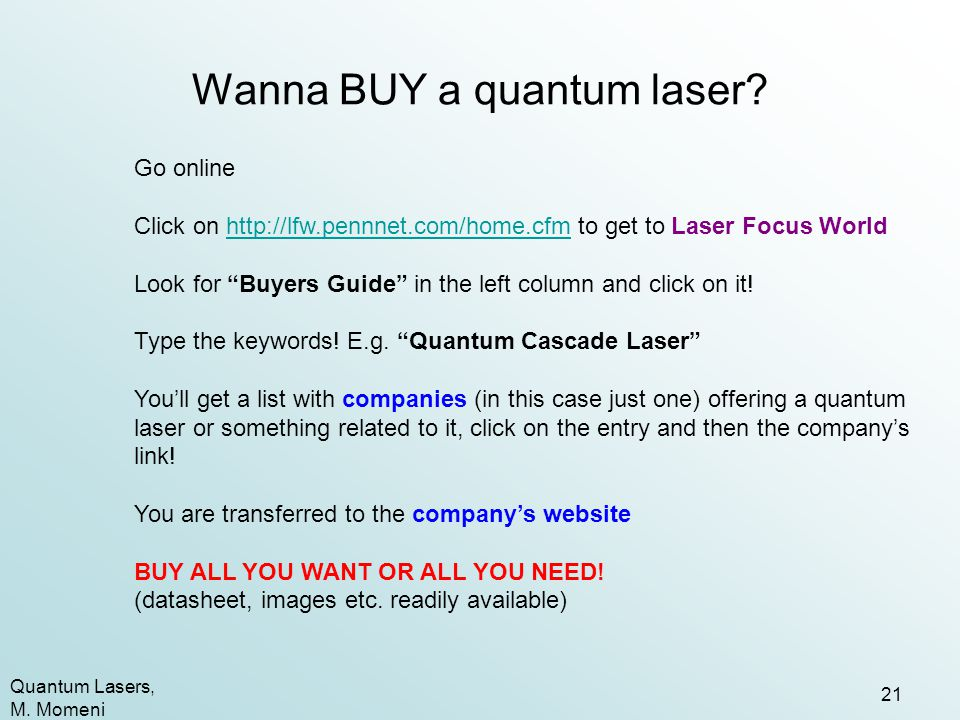 Wanna BUY a quantum laser