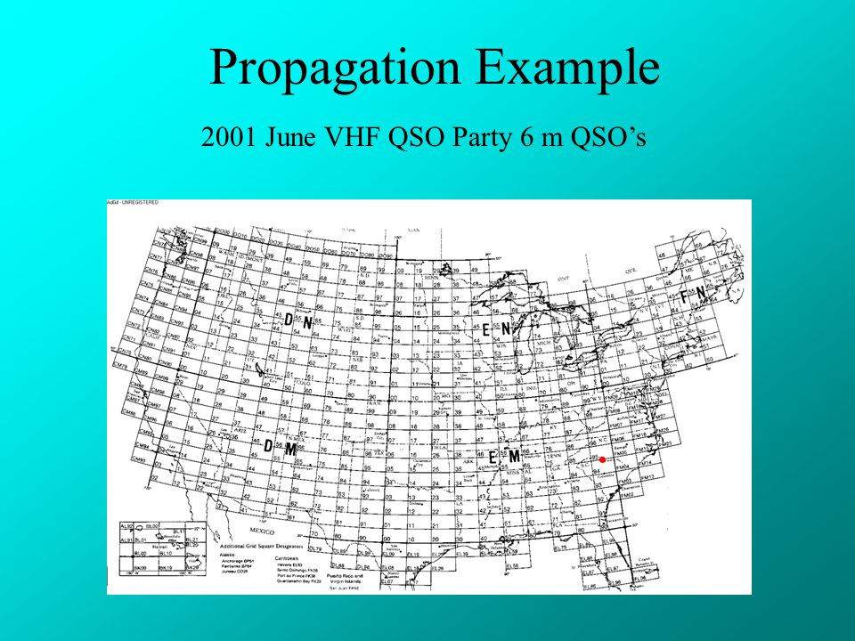 Propagation Example 2001 June VHF QSO Party 6 m QSO's