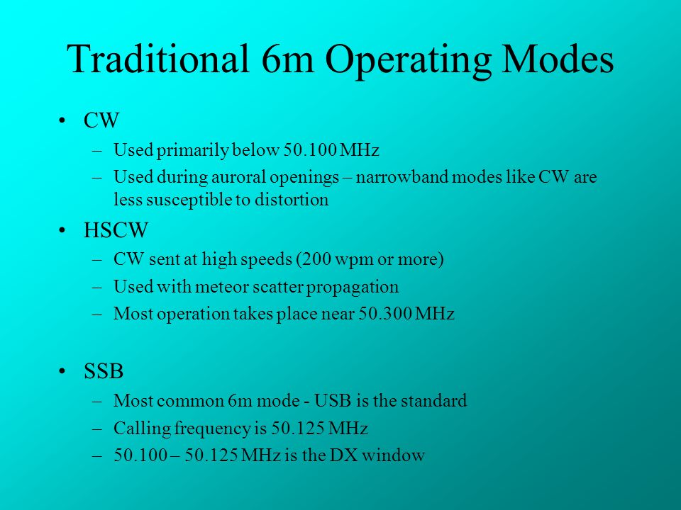 Traditional 6m Operating Modes