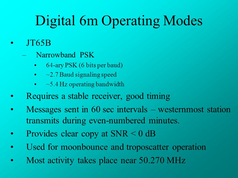 Digital 6m Operating Modes