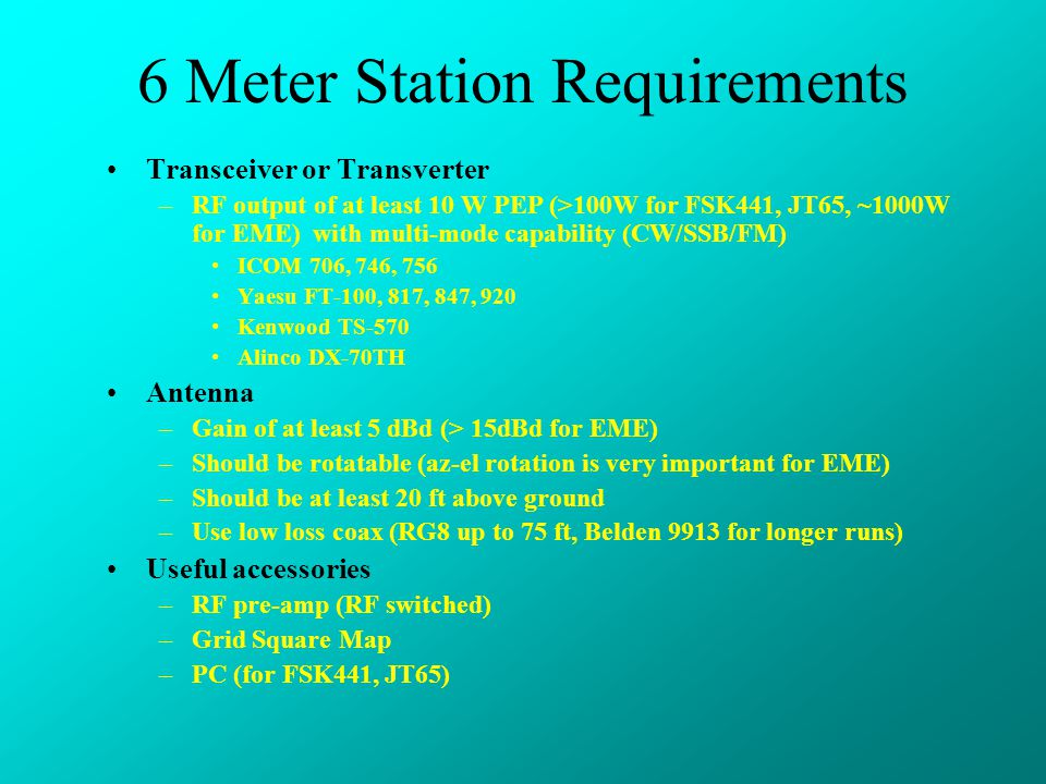 6 Meter Station Requirements