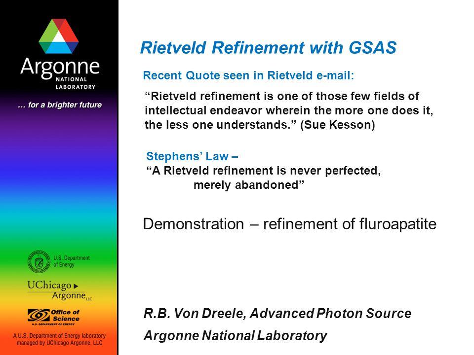 Rietveld Refinement with GSAS