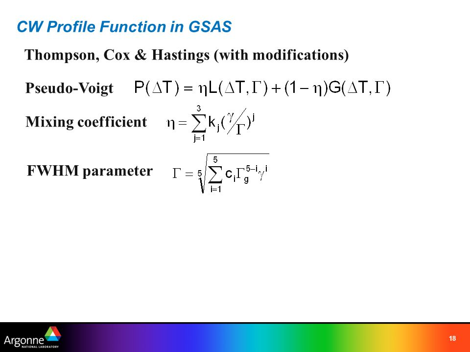CW Profile Function in GSAS