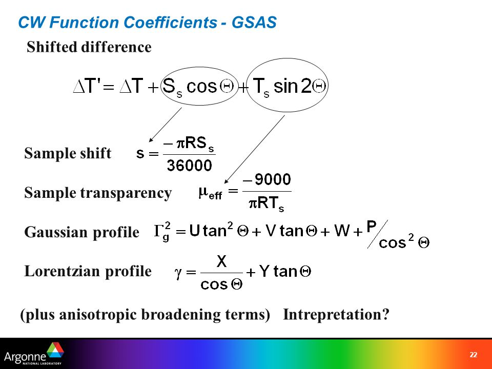 CW Function Coefficients - GSAS