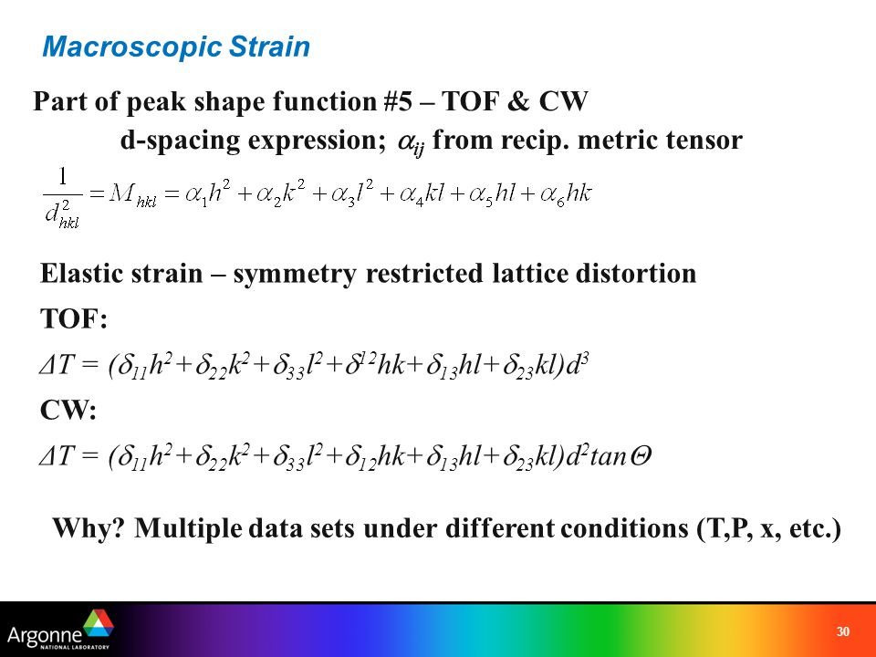 Macroscopic Strain Part of peak shape function #5 – TOF & CW. d-spacing expression; aij from recip. metric tensor.