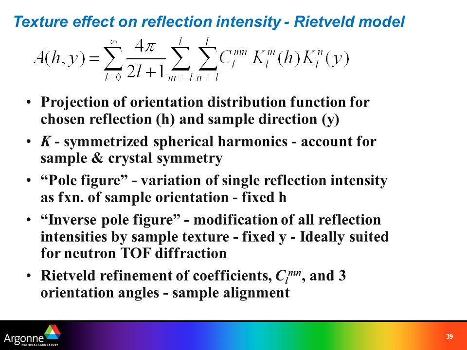 Texture effect on reflection intensity - Rietveld model