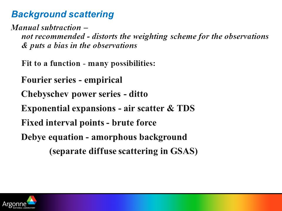 Background scattering