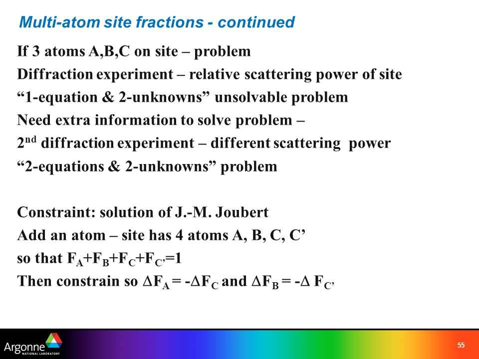 Multi-atom site fractions - continued