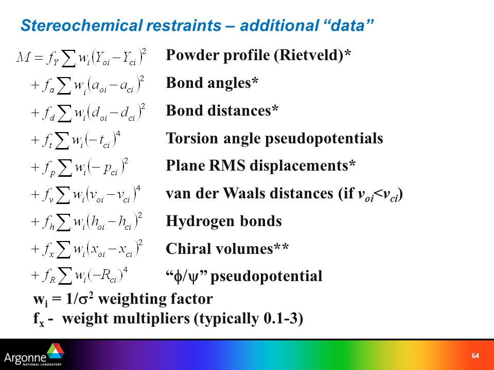 Stereochemical restraints – additional data