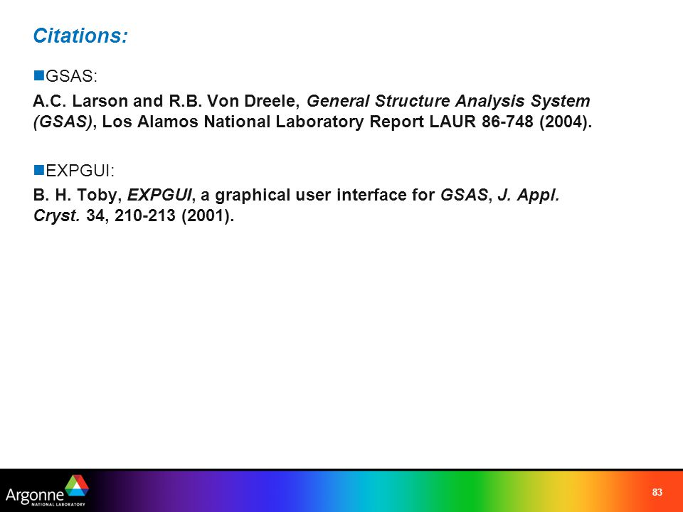 Citations: GSAS: