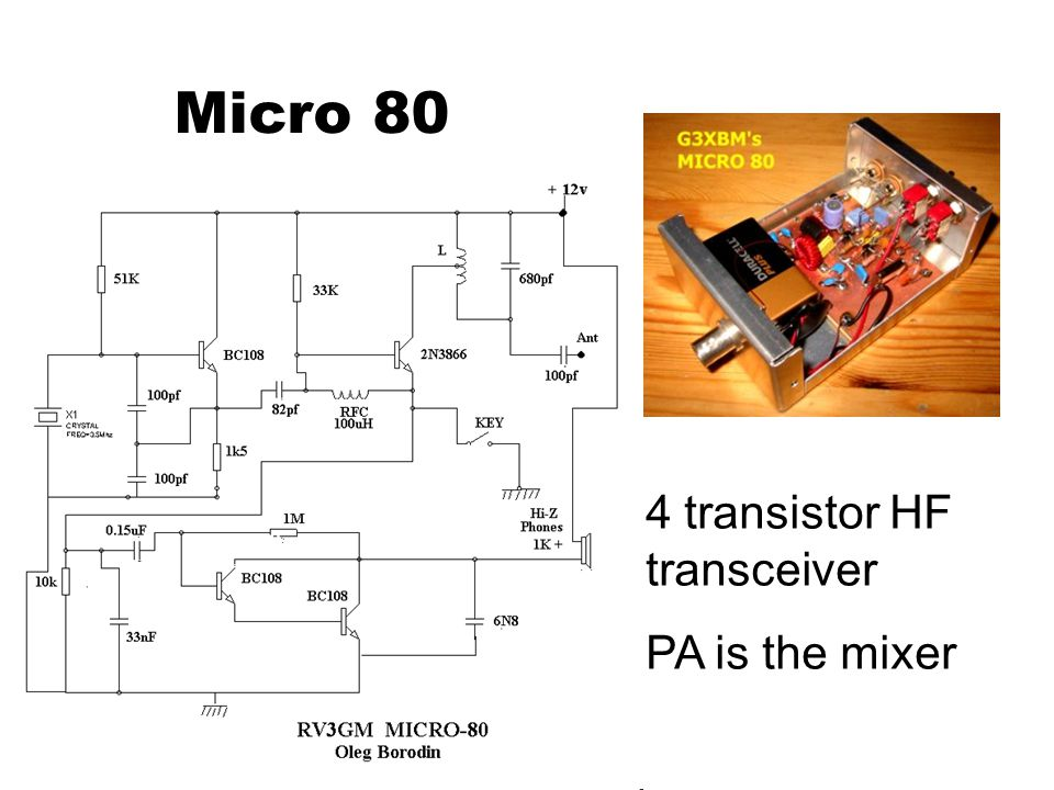 Micro 80 4 transistor HF transceiver PA is the mixer