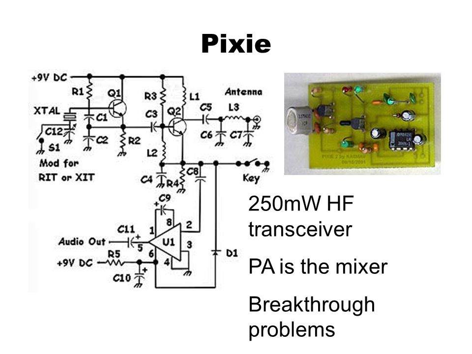 Pixie 250mW HF transceiver PA is the mixer Breakthrough problems