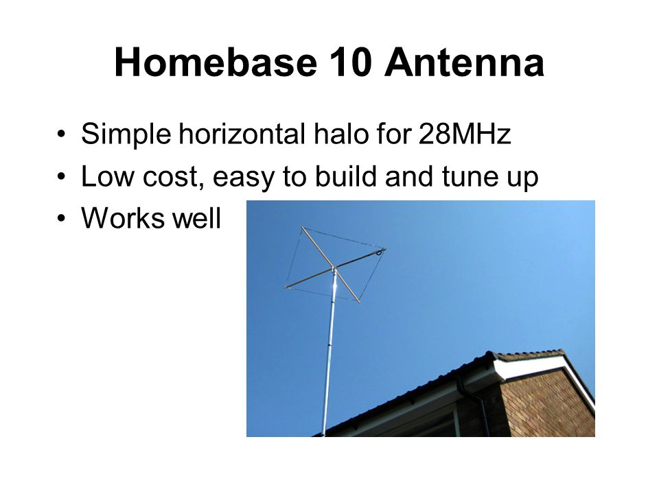 Homebase 10 Antenna Simple horizontal halo for 28MHz