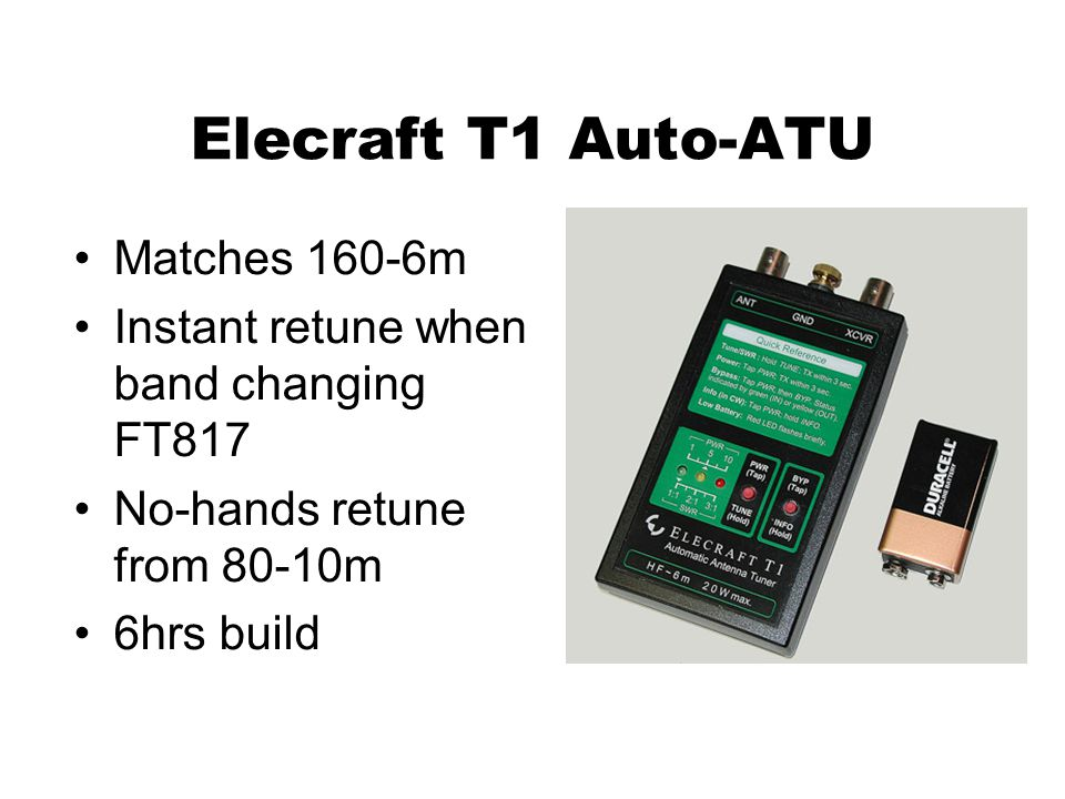 Elecraft T1 Auto-ATU Matches 160-6m