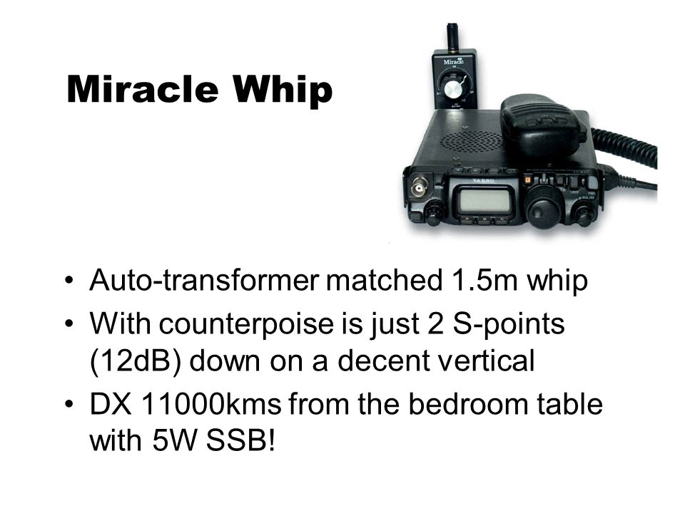 Miracle Whip Auto-transformer matched 1.5m whip