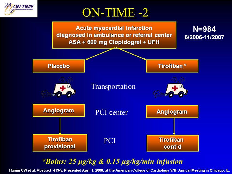 ON-TIME -2 N=984 Transportation PCI center PCI