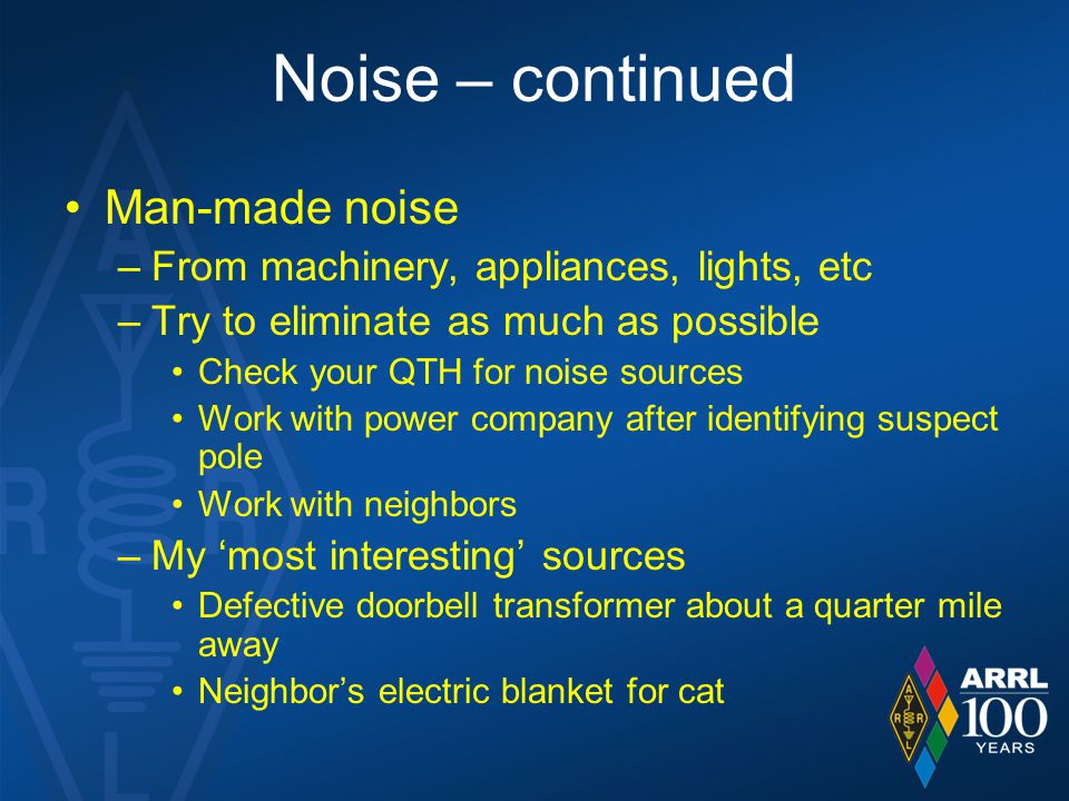 Noise – continued Man-made noise