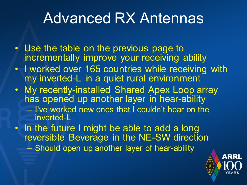 Advanced RX Antennas Use the table on the previous page to incrementally improve your receiving ability.