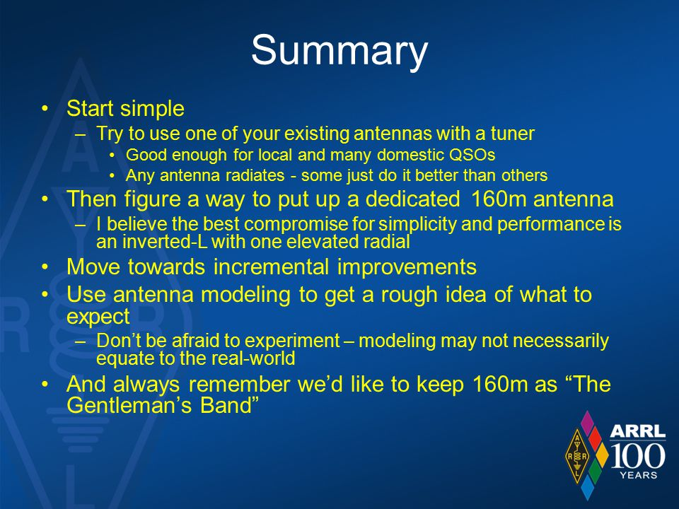 Summary Start simple. Try to use one of your existing antennas with a tuner. Good enough for local and many domestic QSOs.