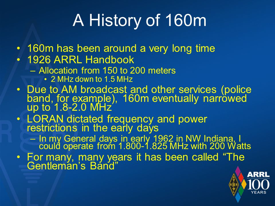 A History of 160m 160m has been around a very long time