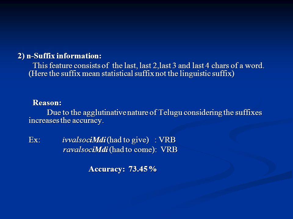 2) n-Suffix information: