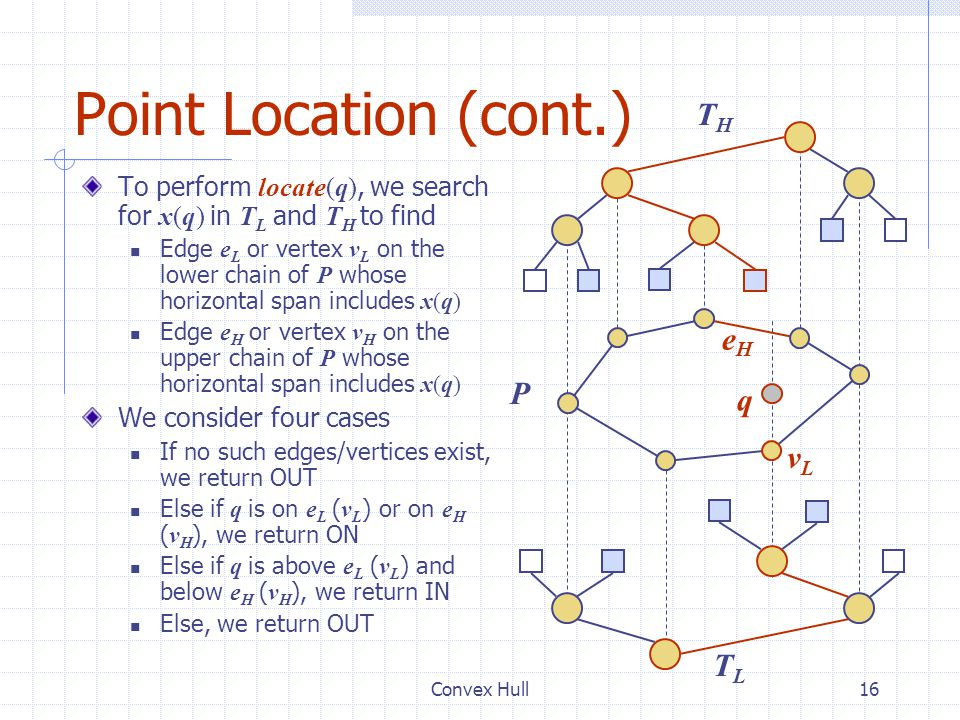 Point Location (cont.) TH eH P q vL TL