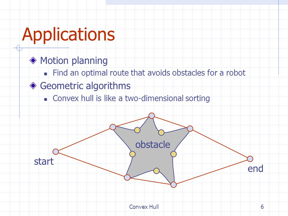 Applications Motion planning Geometric algorithms obstacle start end