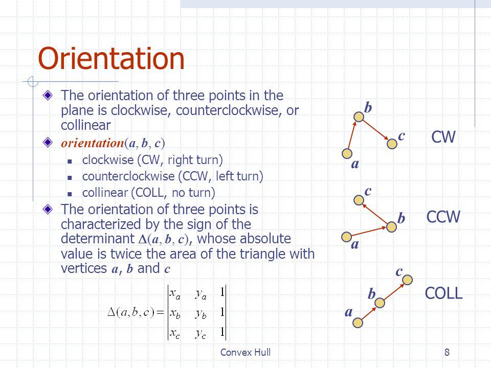Orientation b c CW a c b CCW a c b COLL a