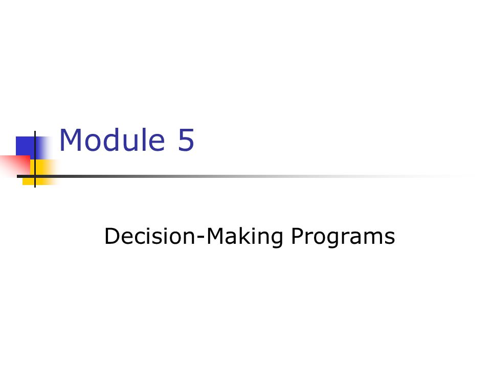 Decision-Making Programs