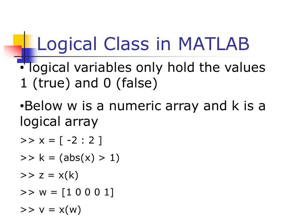 Logical Class in MATLAB