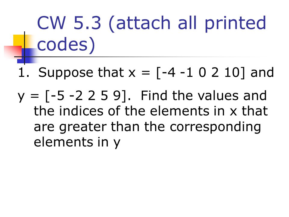 CW 5.3 (attach all printed codes)