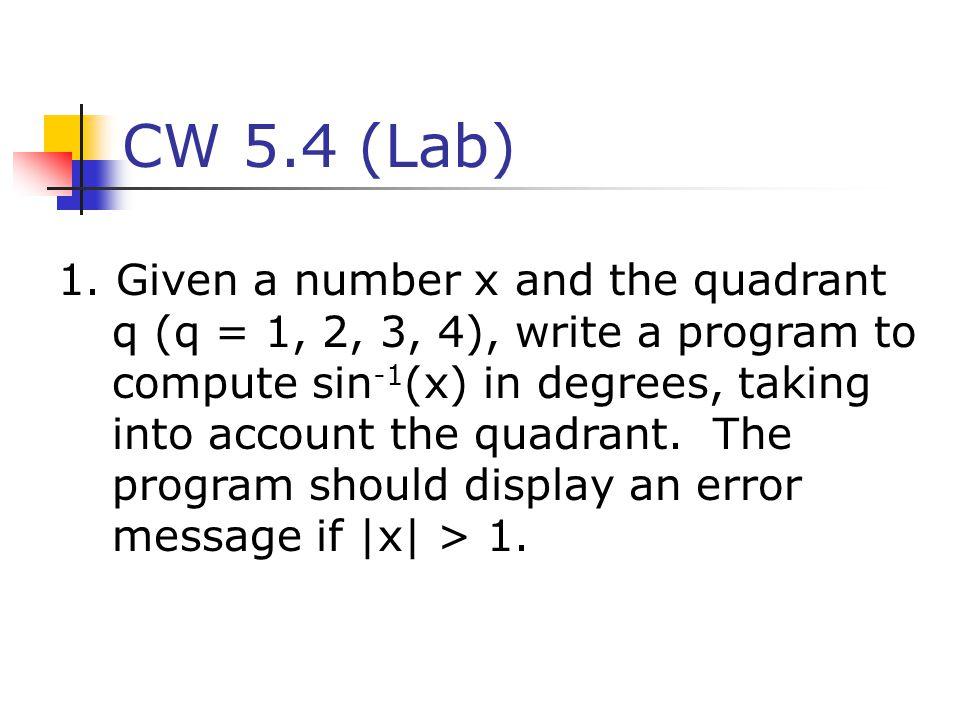 CW 5.4 (Lab)