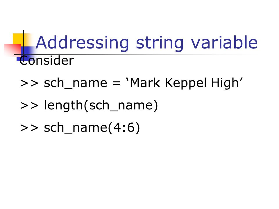 Addressing string variable