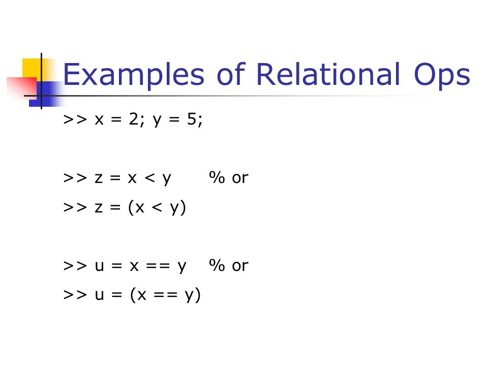 Examples of Relational Ops