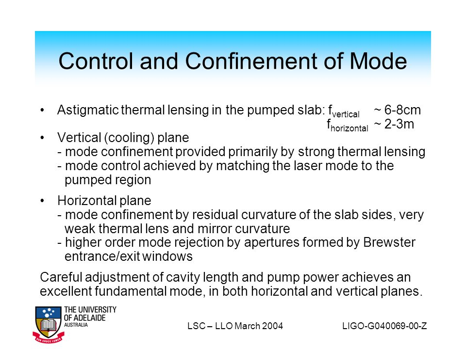 Control and Confinement of Mode