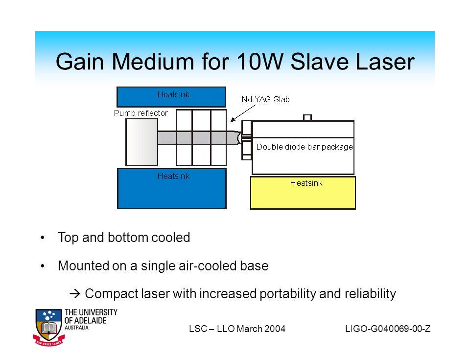 Gain Medium for 10W Slave Laser