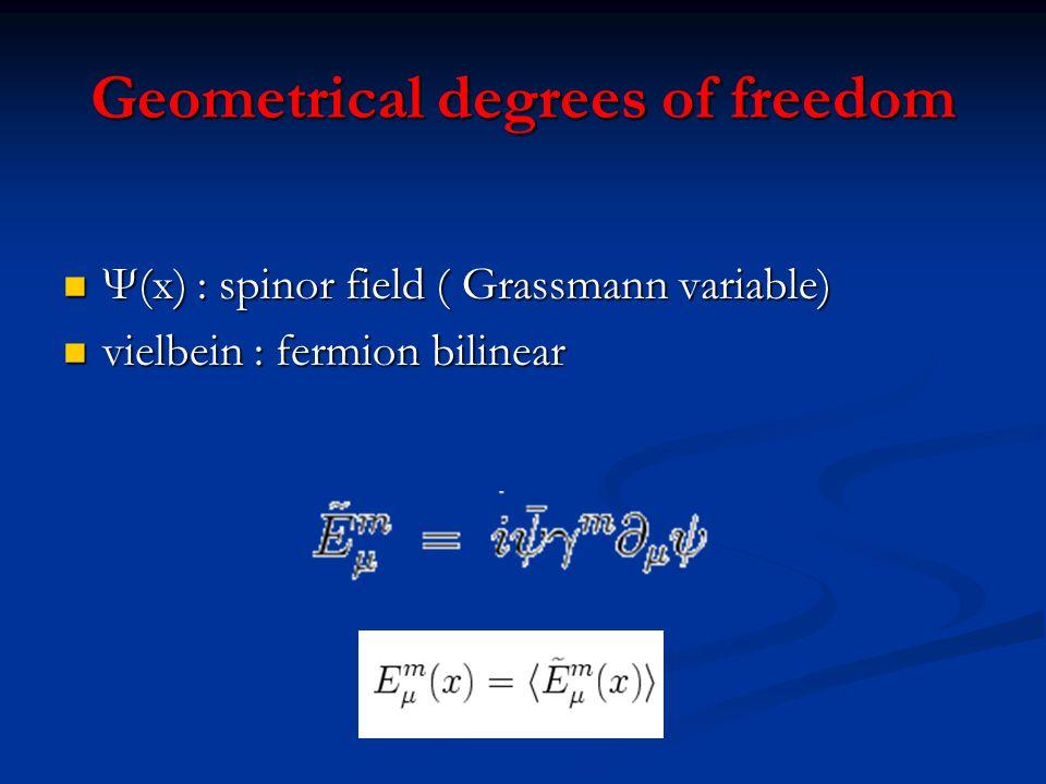 Geometrical degrees of freedom