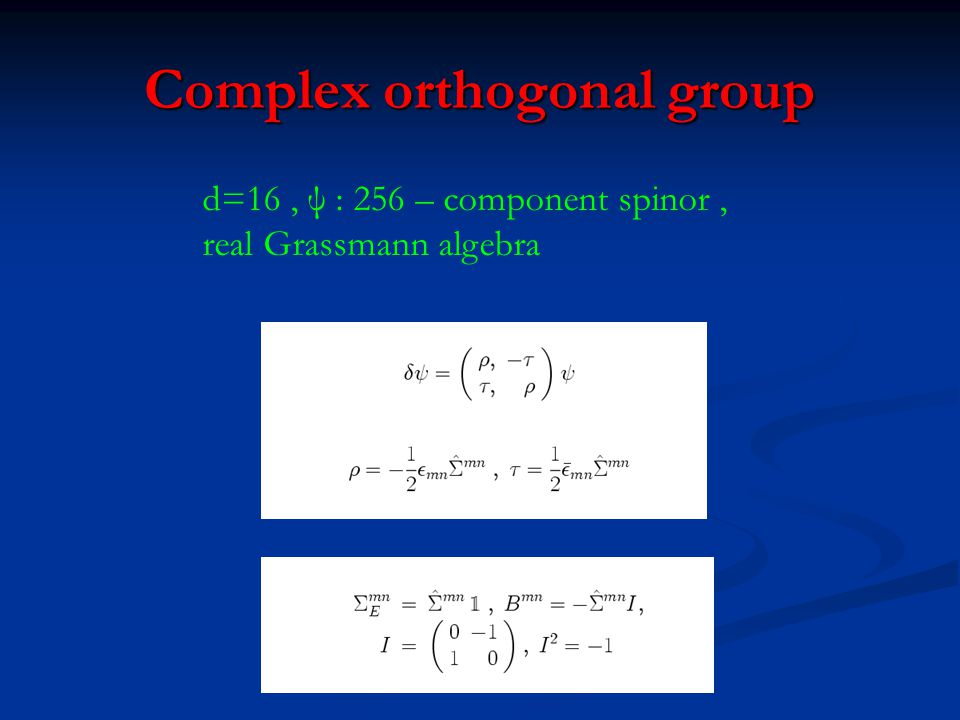 Complex orthogonal group