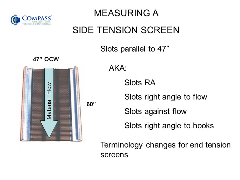 MEASURING A SIDE TENSION SCREEN Slots parallel to 47 AKA: Slots RA