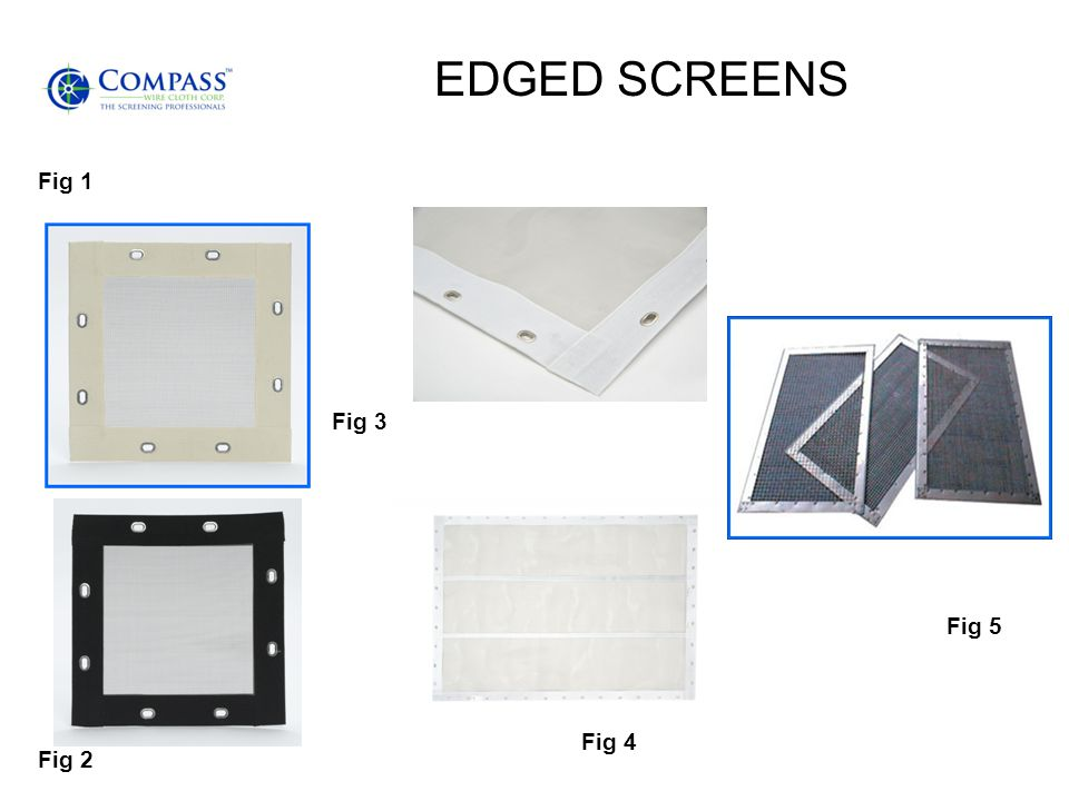 EDGED SCREENS Fig 1 Fig 3 Fig 5 Fig 4 Fig 2