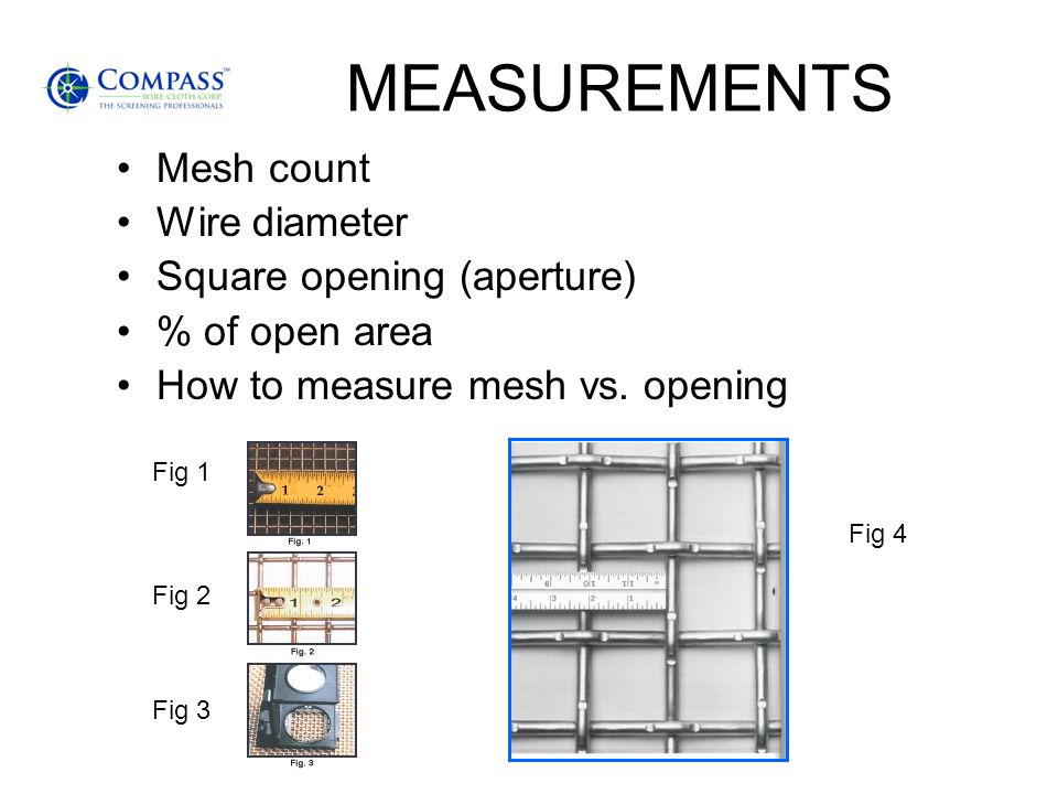 MEASUREMENTS Mesh count Wire diameter Square opening (aperture)