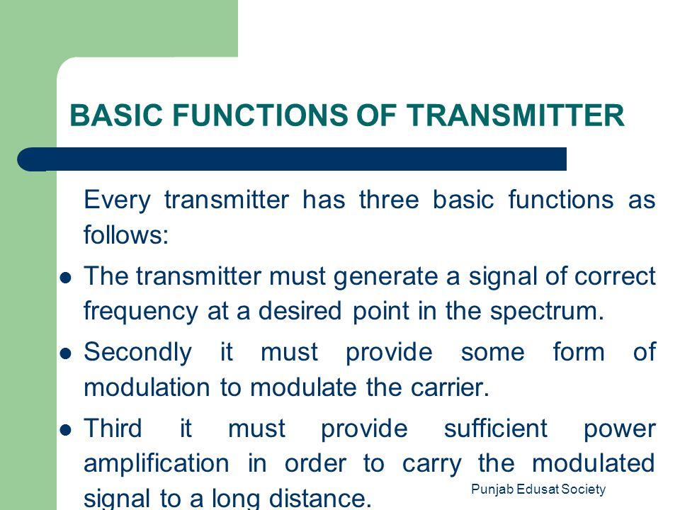 BASIC FUNCTIONS OF TRANSMITTER