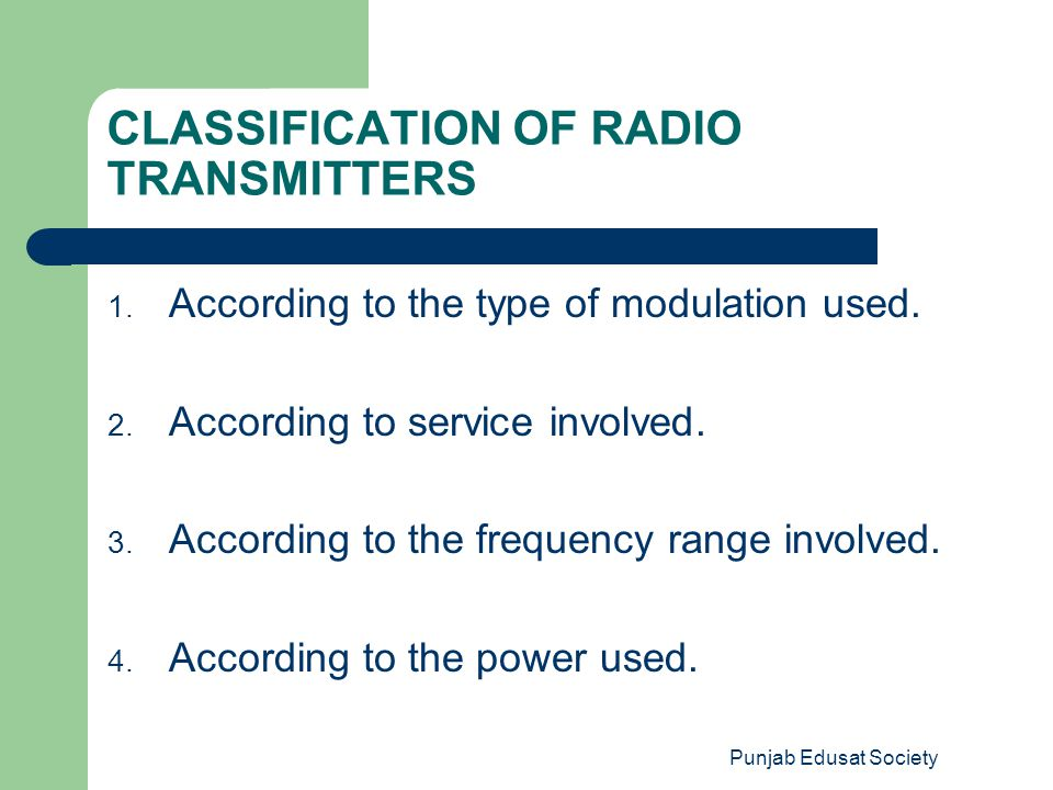 CLASSIFICATION OF RADIO TRANSMITTERS