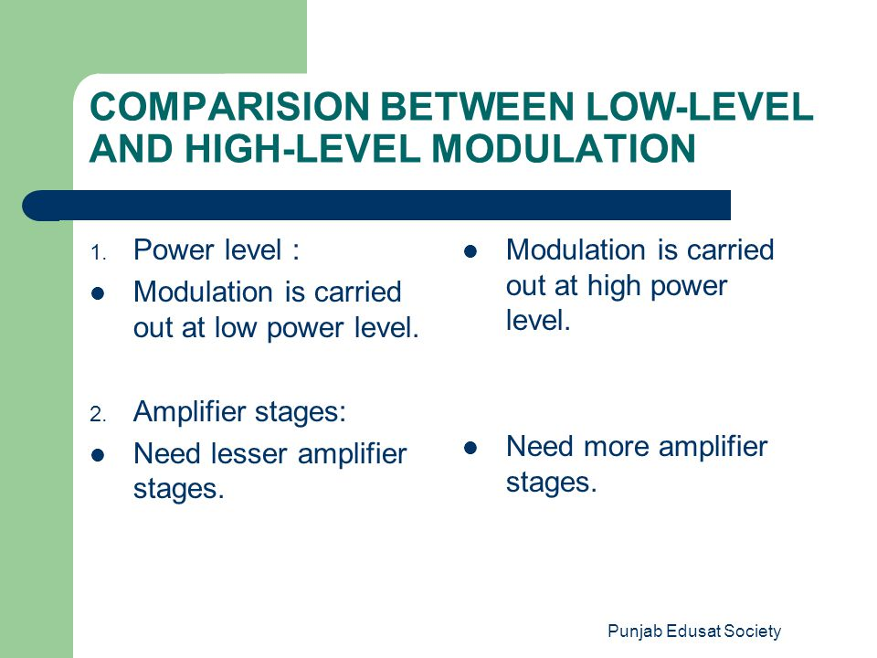 COMPARISION BETWEEN LOW-LEVEL AND HIGH-LEVEL MODULATION