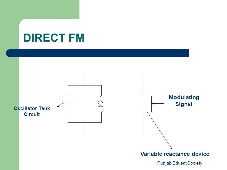 DIRECT FM Modulating Signal Variable reactance device Oscillator Tank